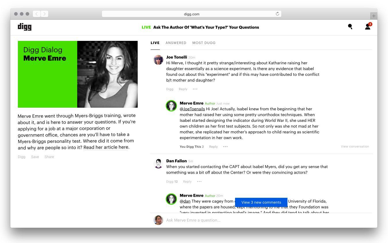 沉寂已久的Digg推新功能,作者、读者双向互动平台Digg Dialog行得通吗?