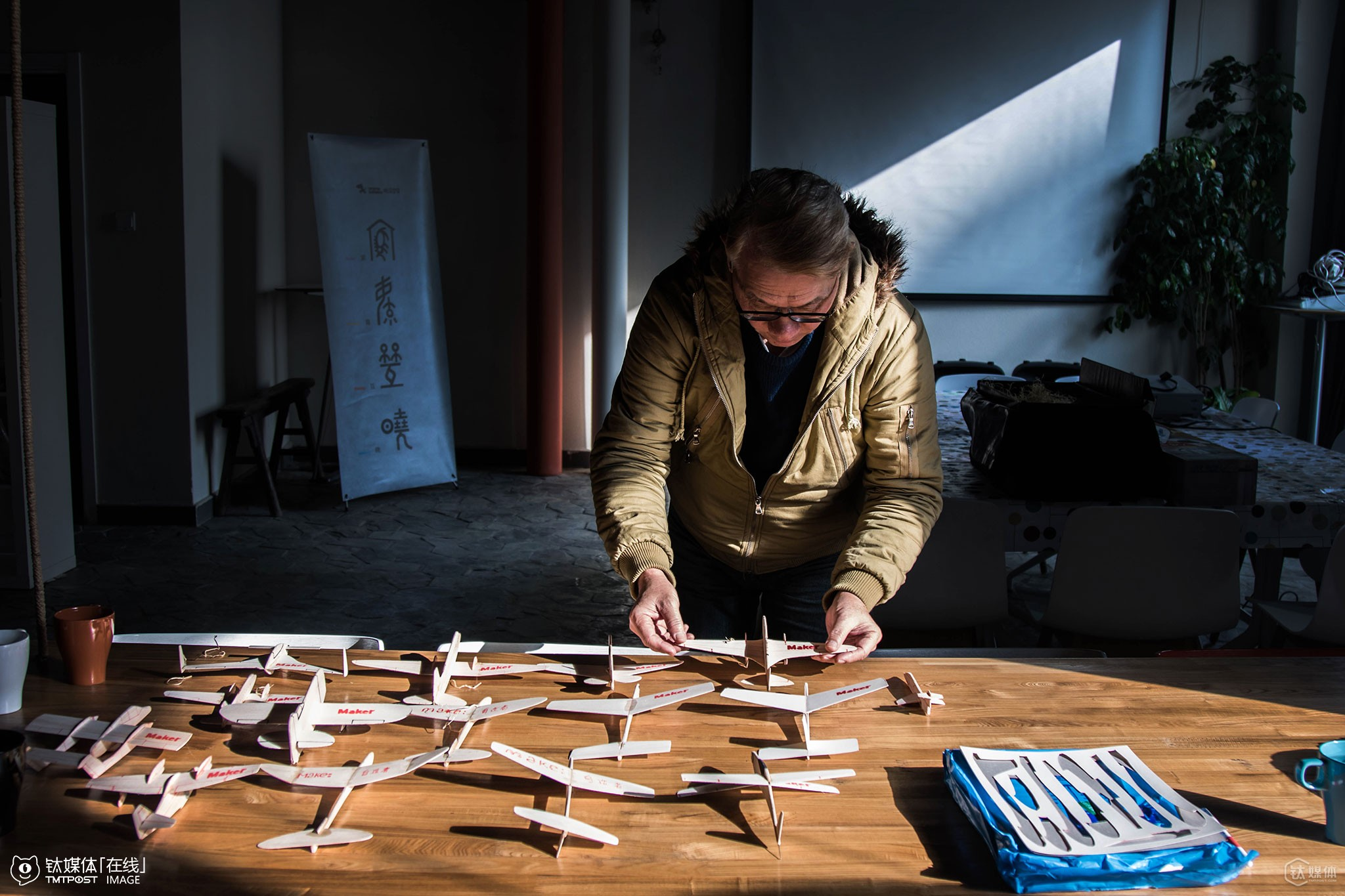"""Zheng Fude took some of his small models from Taiwan to Beijing to show his students. His courses start with cardboard planes, to Balsa wood planes, frame planes, and remote control planes. """"Patience is the most essential thing when making a plane model,"""" Zheng said. """"The final product doesn"""