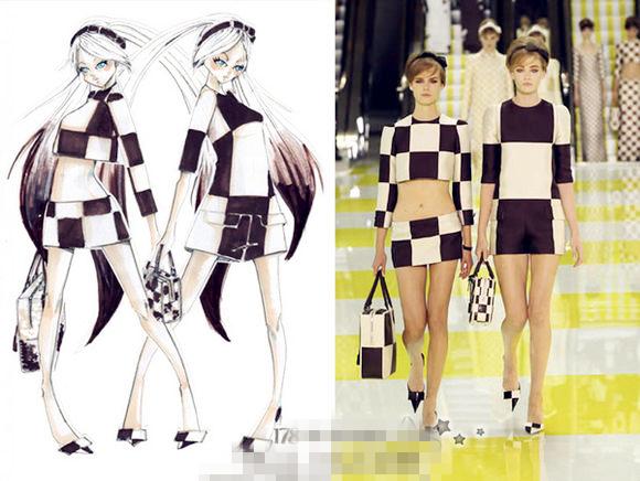 2012年LV主设计师小马哥为初音未来的歌剧设计的服装