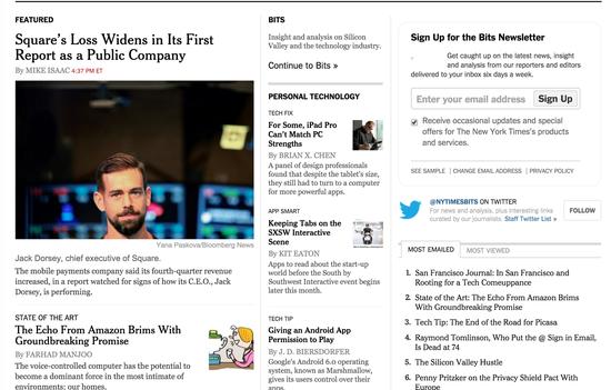 《纽约时报》科技版要闻区