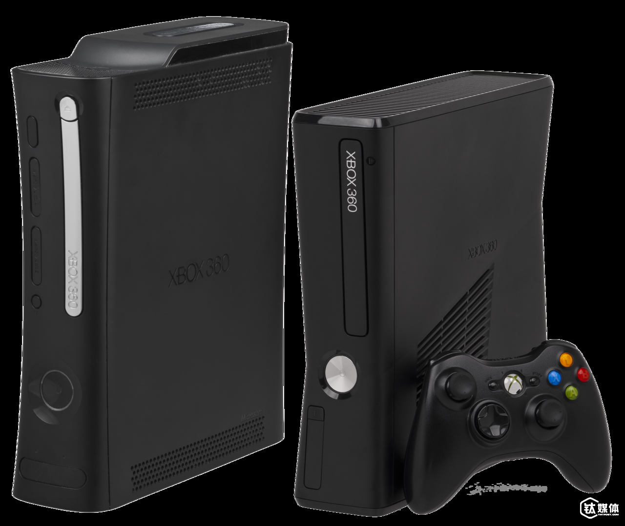 左边为 Xbox 360精英版,右边为 Xbox 360 S Evan-Amos