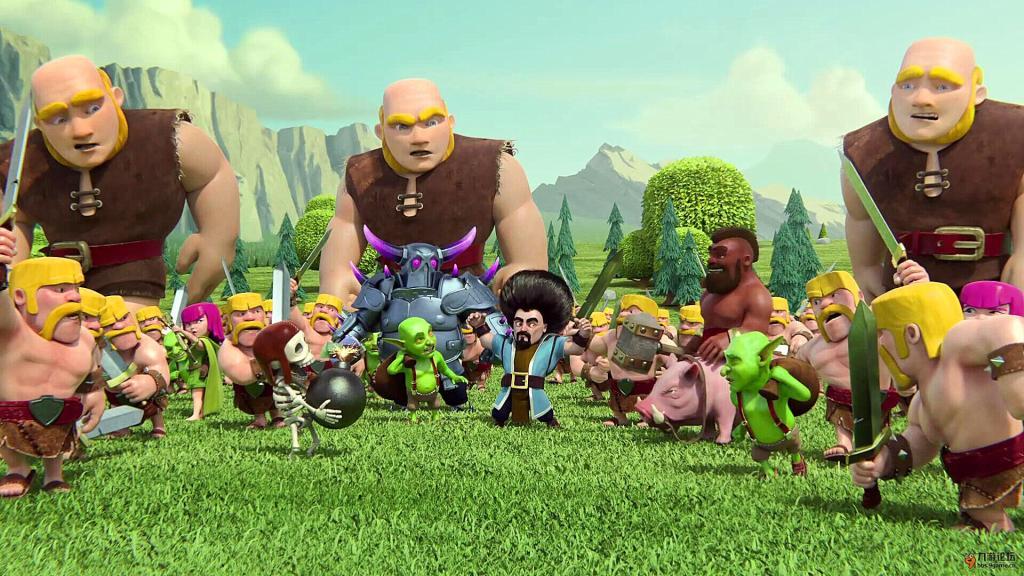 图为Supercell旗下知名手游《部落冲突》的人物图