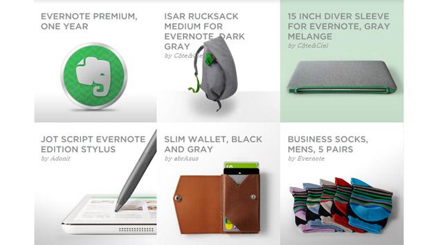 Evernote商店里卖起了书包、钱夹甚至袜子