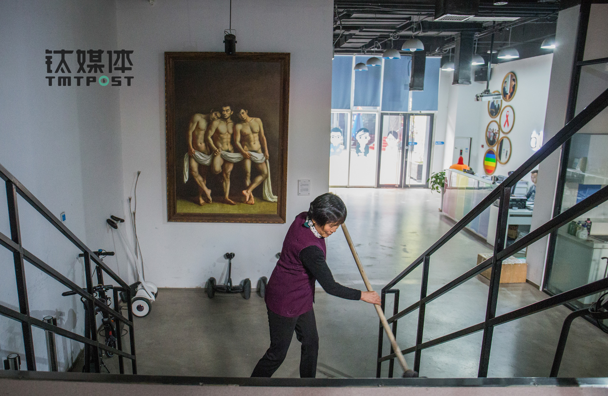 """Mrs.He has been a janitor at Blued for three years. """"I knew little about Blued when I just started to work here. It's actually my son who explained the company to me. I am not a city folk. Some boys here told me they liked boys, I didn't think it's normal,"""" she said. """"A long time ago when a guy asked me what I would do if I found out my son is gay. I just joked to him I would beat the hell out of him. I have been working at Blued for a long time. People here are very nice."""""""