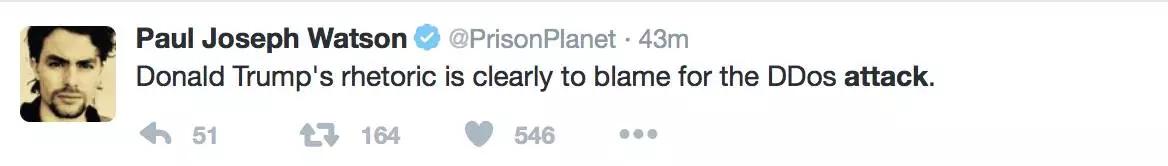 """""""川普说过的那些话是导致今天互联网被攻击的原因。"""""""